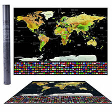 Scratch Off World Map Poster with US States and Country Flags