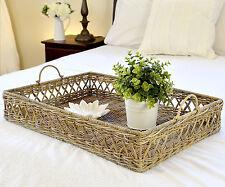Large Rattan Tray- Diamond Weave Rattan Ottoman Tray with Handles