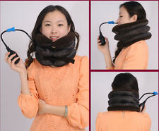 Cervical Neck Traction Collar Portable Inflatable Device Air Collar Brown