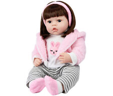 "20"" Reborn Baby Toddler Girl Doll Lifelike Realistic Sitting Soft Body Dolly Toy"