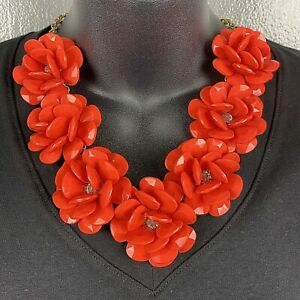 Statement Necklace Large Chunky Faceted Flowers Coral Bright Red Gold Tone