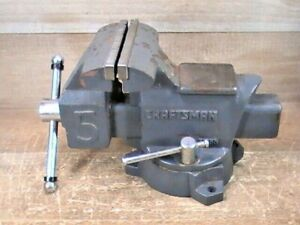 """Pre-owned CRAFTSMAN #51855 5"""" Bench Vise W/ Swivel Base Anvil W/ 5"""" Opening"""