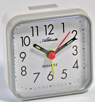 Atlanta Reisewecker Grau Weiß Quartz Analog Wecker 059/4 Neu Alarm Clock