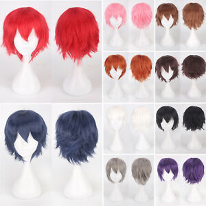 Male Female Anime Straight Short Hair Wig Cosplay Party Carnival Women Full Wigs