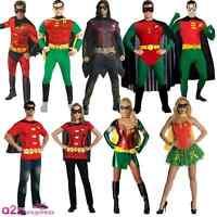 MENS LADIES ROBIN DELUXE SUPERHERO BATMAN ADULT FANCY DRESS COSTUME + CAPE MASK