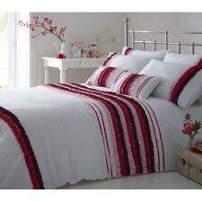 Premium Pleated King Duvet Cover Quilt Bedding Set Poly Cotton Viola Pink White