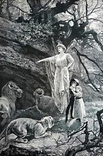 R. Jones THE ENCHANTED FOREST 1891 Fairy Fairies Serpent Lions Matted Art Print