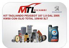 KIT TAGLIANDO PEUGEOT 107 1.0 DAL 2005 KW50 CON OLIO TOTAL 10W40 3LT