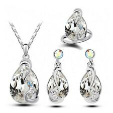 Fashion Silver/Gold Plated Chain Jewelry Set Cubic Zirconia Necklace Earrings