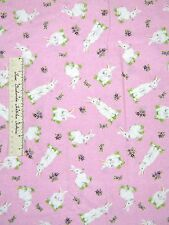 Quilting Treasures Fabric - Springtime Easter Rabbit Flower Toss on Pink Gild