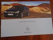 Mercedes C Class Sports Coupe price list brochure Apr 2004