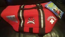 Paws Aboard Dog Life Jacket Red Lifeguard Neoprene Medium  20-50 LB M
