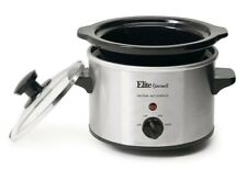 Elite Gourmet Mini Slow Cooker ~ 1.5 Qt ~ Ceramic Crock ~ Stainless Steel - New