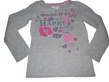H & M tolles Langarm Shirt Gr. 110 / 116 grau mit tollen Stickereien !!
