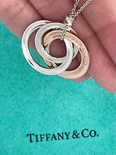 Tiffany & Co 1837 Rubedo Sterling Silver Interlocking Circles Pendant Necklace