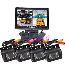 "4x 18LED CCD Reversing Camera + 7"" LCD 4CH Quad Split Monitor Car Rear View Kit"