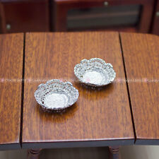 2pc Metal Plates Tray Bowl Basket Silver Dollhouse Miniatures Fruit Vegetables