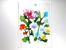 """FLOWER WINDOW,Wall Hanging,Kiln Fused Stained Glass 2.5 x 3.5""""  ACEO Sun Catcher"""