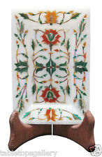 """6""""x4"""" White Marble Serving Tray Plate Hakik Floral Inlay Table Decor Gifts H1870"""