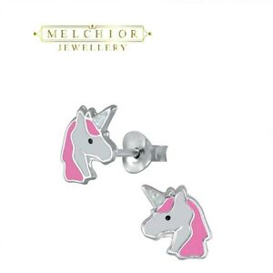 925 Sterling Silver Childrens GIRLS Pink White UNICORN Stud Earrings Gift Boxed