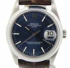 Men Rolex Date Stainless Steel Watch Quickset Brown Leather Band Blue Dial 15200