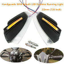 2PC 22MM 7/8'' Motorcycle Bike Hand Guard Protector w/ DRL LED Turn Signal Light