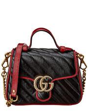 Gucci Gg Marmont Torchon Mini Leather Top Handle Satchel Women's Black