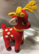 "CHRISTMAS FUN WORLD VINTAGE STUFFED REINDEER 8"" RED WHITE SPOTS ITEM 7045"