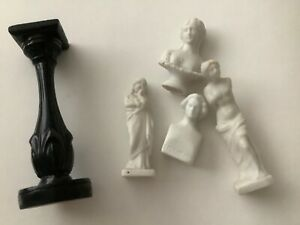 4 miniature dolls house Parian statues and busts with one stand