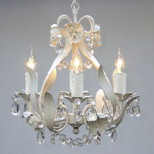Crystal prisms Girls room Floral ITALY 4 light SOLID White finish Chandelier++