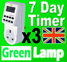 3 x New 7 Day Digital LCD Electronic Plug Programable mains Timer Switch 24hr