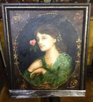 M HAROLD ORIGINAL SIGNED IMPRESSIONIST BEAUTY PORTRAIT OIL PAINTING & WOOD FRAME