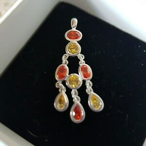 Sterling Silver and Mixed Gemstone Drop Pendant