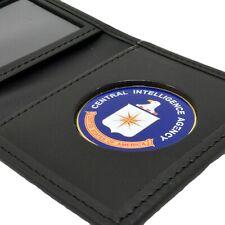 CIA Central Intelligence Agency Mens Black Leather Bi Fold Medallion Wallet