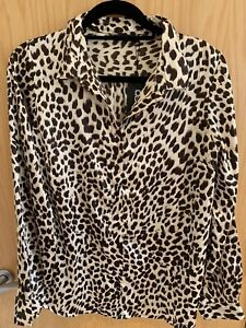 Boohoo Leopard Print Satin Shirt Size 14