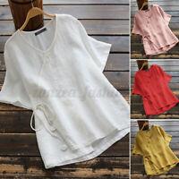 ZANZEA Women Summer Short Sleeve Top Tee T Shirt Loose Fit Ladies Cotton Blouse
