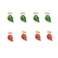 10pc Alloy Enamel Leaf Pendants Mini Dangle Charms For Jewelry Making 19.5x9.5mm