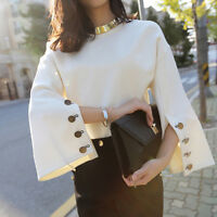 Fashion Elegant Women Solid White Long Flare Bell Sleeve Casual Loose Blouse Hot