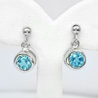 Cute! 5mm Natural Sky Blue Topaz Earring in 925 Sterling Silver
