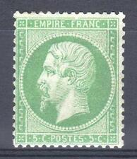 "FRANCE STAMP TIMBRE 20a "" NAPOLEON III 5c VERT FONCE 1862 "" NEUF xx A VOIR P597"