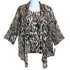 Women's Blouse Top - Beige Black Animal Print - JM Collection Size PS - New