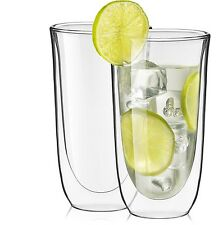 JoyJolt Spike Double Wall Glasses, Set of 2 13.5 Oz Cocktail Drinking Glasses