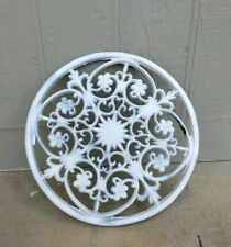 Large Round Cast Iron Wall Decor Metal Rustic Scroll French Country Design Fleur