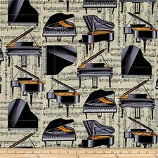 PIANO Fabric Fat Quarter Cotton Craft Quilting - Instruments Sheet Music