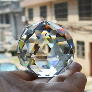 Faceted Cut Crystal Sphere Ball Clear Suncatcher Gazing Prism Home Decoration
