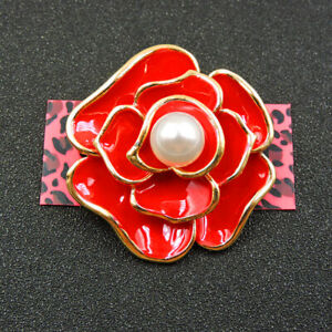 Betsey Johnson Red Enamel Delicate Pearl Flower Charm Brooch Pin Gift