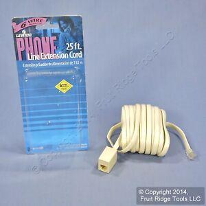 Leviton Ivory 25 Ft Extension Cord 6-Wire RJ14 RJ11 Phone Line C2606-25I