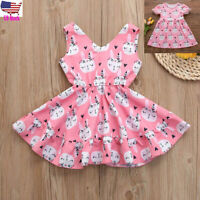 Easter Children Kids Baby Girl Cartoon Print Party Princess Dress Outfit Clothes
