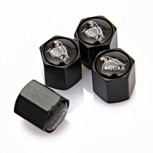 4x Car Accessories Wheel Tire Valve Stems Caps Air Dust Cover Logo For Jaguar