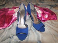 ADRIENNE VITTADINI Womans Blue Suede Open Toe Pumps - Size 6.5 NWOB